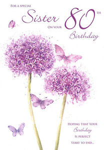 Image Is Loading 80th SISTER BIRTHDAY CARD AGE 80 QUALITY