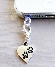 Heart DOG Paw Prin cell phone Charm Dust proof  Plug ear jack For iPhone C149