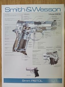 SMITH-amp-WESSON-MODEL-6906-9MM-PISTOL-POSTER-NEW-GREAT-FOR-BAR-MANCAVE