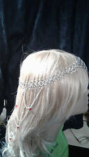 Chain Mail Circlet, Head Piece, Renaissance, Wedding, Stainless Steel, Red Bead