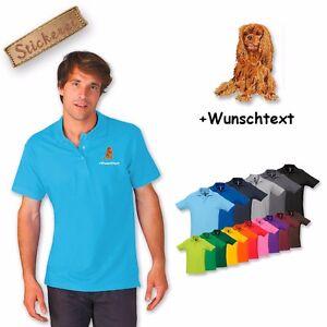 Polo Shirt Coton Broderie Cavalier King Charles Spaniel 4 Texte Personnalisé