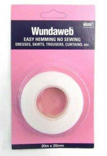 Wundaweb Hem Easy Hemming Tape.20m 20mm Iron On Take Up Trouser Skirt Etc