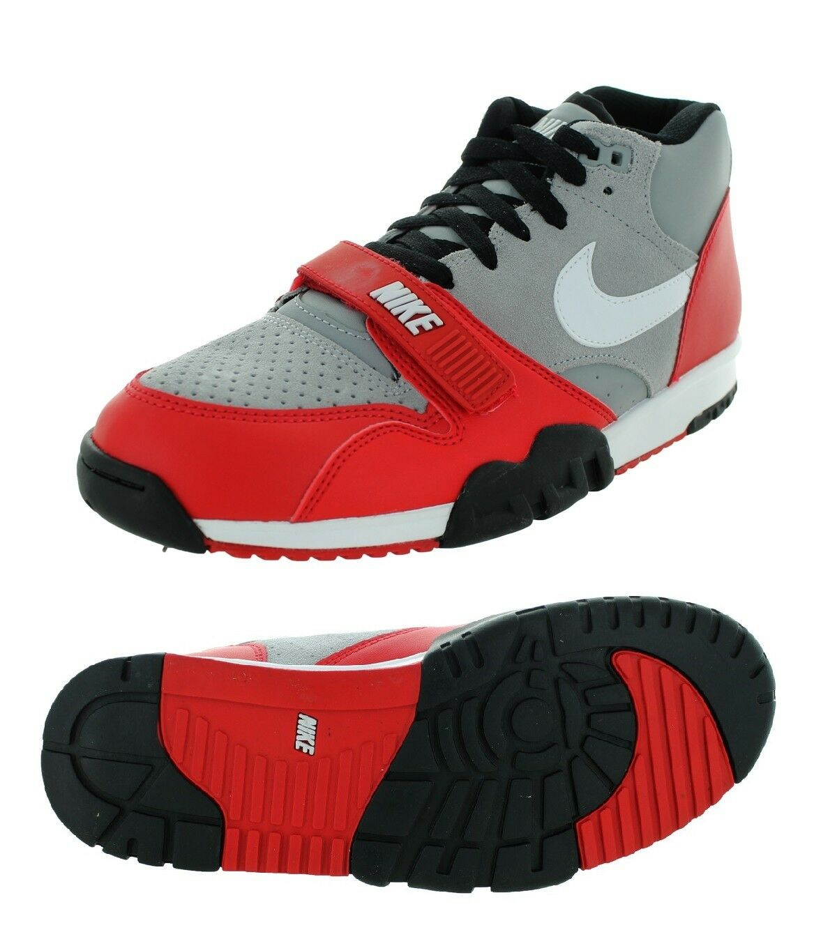 NEW NIKE AIR TRAINER 1 MID 317554-006 OHIO STATE GREY WHITE RED BLACK SZ 12