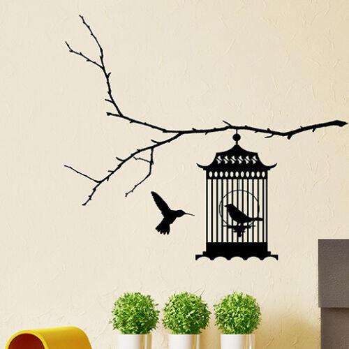 Autocollants Muraux//Cage à Oiseaux Autocollant Mural//Vinyle Mur Art Décalque Autocollant N28