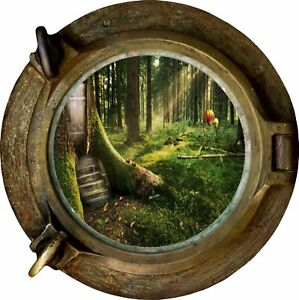 Huge-3D-Porthole-Enchanted-Forest-View-Wall-Stickers-Mural-Decal-Wallpaper-59