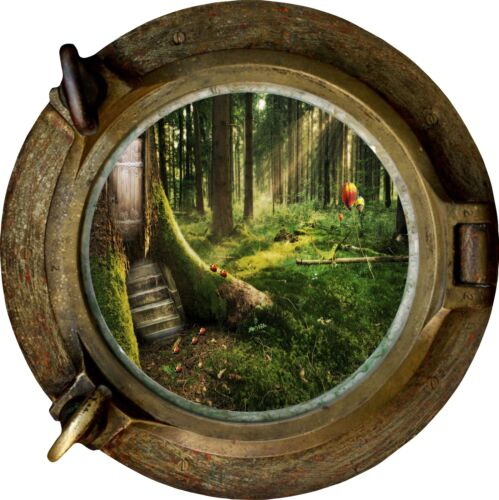 Huge 3D Porthole Enchanted Forest View Wall Stickers Mural Decal Wallpaper 59