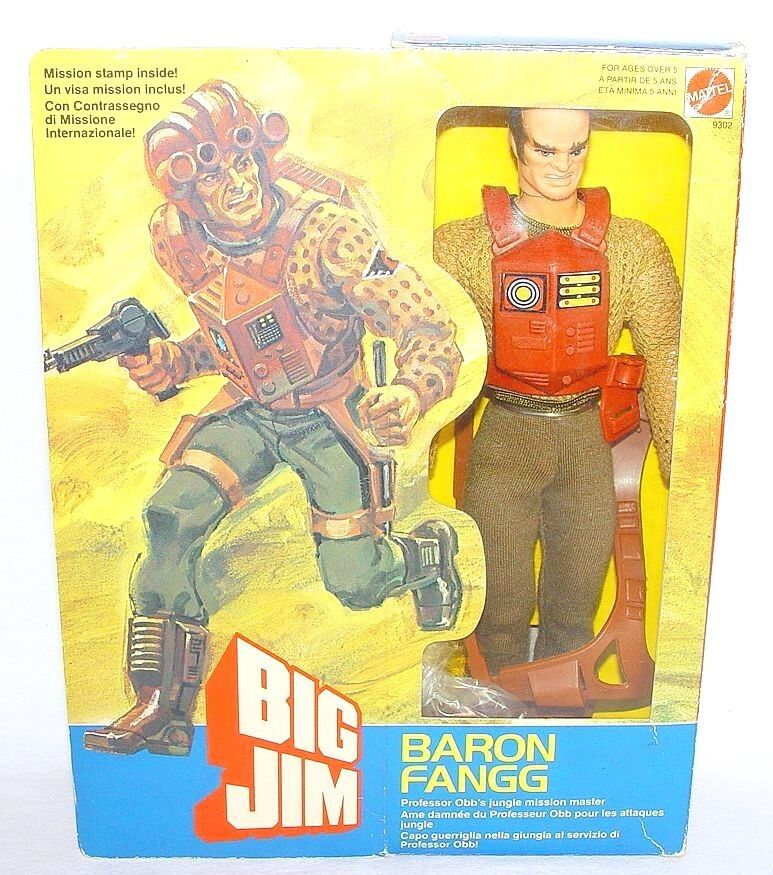 Mattel USA BIG JIM 10  BARON FANGG JUNGLE MISSION MASTER Action Figure MIB`84