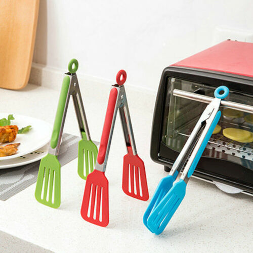 NE/_ Silicone Kitchen Salad Serving BBQ Tongs Stainless Steel Handle Utensil Tool