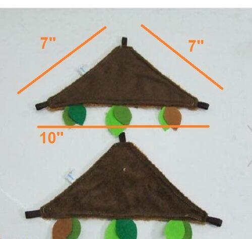 2 Pcs Triangle Sheet Sugar Glider Accessory Forest Pattern Dark Brown Color