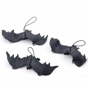 Halloween-Props-Black-Rubber-Bats-Hanging-Decor-Party-Home-Adornment-Decoration