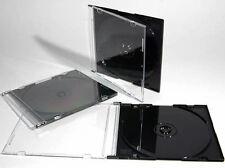 200 x Single CD Jewel Case 5.2mm Spine  Slim Black Tray New Replacement UK STK