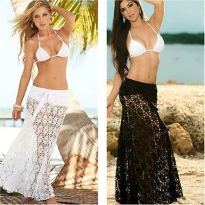 41bfb2787c Sexy Women Hollow Out lace Crochet see-through Beach Cover Up Skirt ...