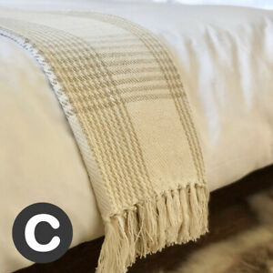 Luxury-100-Cotton-Checked-Ivory-Cream-Neutral-Throw-Blanket-Bed-Sofa-Fringed