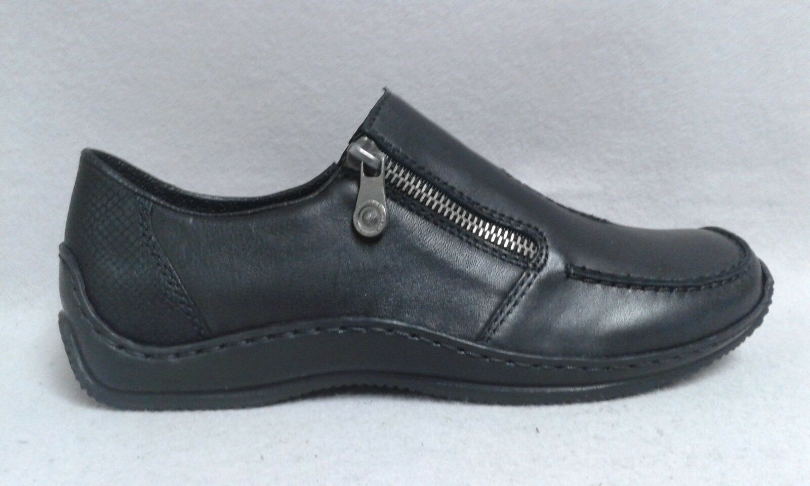 Rieker Slipper schwarz Reißverschluß Gummizug echt Leder weich gepolstert 0185 3