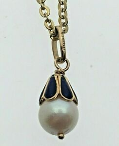 18-Carat-Yellow-Gold-Pearl-amp-Blue-Enamel-FABOR-Pendant-Necklace-23-1-2-034-Chain