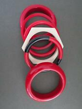 VINTAGE metà del secolo modernist Rosso lucite Bracciali Braccialetti 6 Job Lotto
