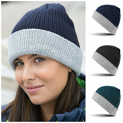 Knitted Beanie Hat Wooly Soft Warm Mens Ladies Winter Skiing Turn Up Free PnP