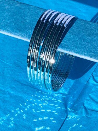 "7 Argent Sterling 925 Semanario 3 mm Beveled bracelets bracelets 2.5/"" taxco mexico"