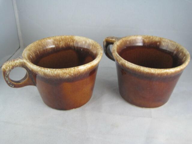 Set 2 Hull Pottery Crestone Drip Glaze Coffee Tea Mugs Cups Brown Oven Proof USA