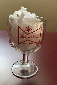 "Vintage Budweiser ""King of Beers"" Beer Mug Goblet Glass 1980s Collectible"