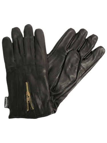 BLACK 3M THINSULATE MENS LEATHER GLOVES WITH ZIPPER