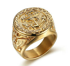 18k Gold Plated Titanium Steel Eagle Engraved Men's Cool Design Anchors Ring M62