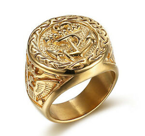 18k-Gold-Plated-Titanium-Steel-Eagle-Engraved-Men-039-s-Cool-Design-Anchors-Ring-M62