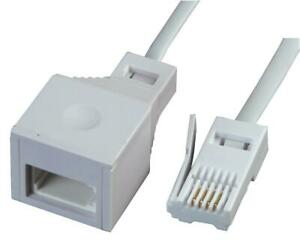 BT PLUG TO SOCKET, TELEPHONE EXTENSION LEAD, 20M WHITE FOR PIFCO