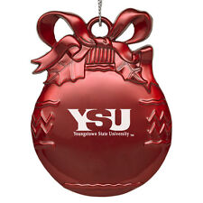 Youngstown State University - Pewter Christmas Tree Ornament - Red