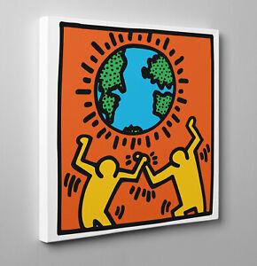 Quadro-Pannello-Haring-World-Poster-Stampa-su-Tela-Vernice-Pennellate