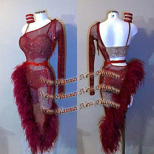 L885 Ostrich Feather Ballroom Rhythm salsa Latin Samba swing dance vestido US