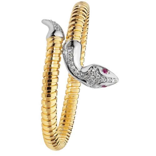 Amarillo Oro sobre plata 925 Diseño de serpiente en espiral Brazalete peso 15.2g caracteriza