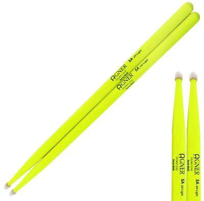 Agner 1 Paar 5 A Uv-light Drum-sticks In Gelb Trommelstöcke