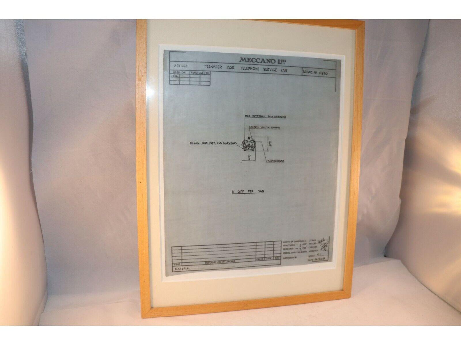 Meccano LTD Memo 17870 Drawing for Telephone Service Van in mint condition RARE