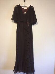 Vintage-BOHO-Dress-12-Brown-Full-Length-Ruffle-Prairie-Bridesmaid-70-039-s-80-039-s-NOS
