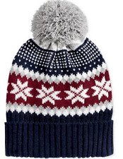 $96 CLUB ROOM MEN'S BLUE RED UNISEX CUFF WINTER WARM HAT CAP POM BEANIE ONE SIZE