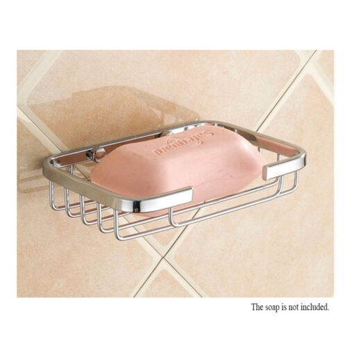 Wall Mounted Soap Dish Holder Bathroom Bath Shower Stainless Steel Basket Tray