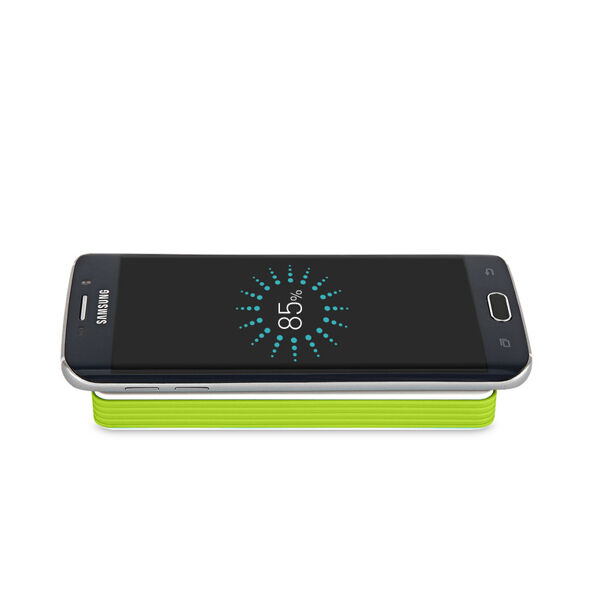 Portable Solar Power Bank 5000mAh Fast Qi Wireless Charger Pad USB Charger Green