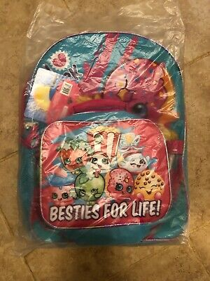 Shopkins Girls Backpack with Detachable Lunch Pink Blue Kindergarten School Bag