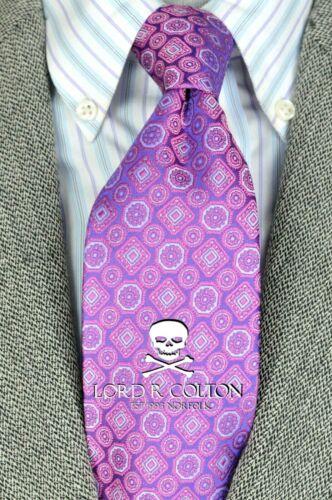 $95 Retail New Lord R Colton Studio Tie Amethyst Medallion Woven Necktie
