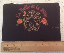 Beauty & The Beast La Belle et La Bete Crest Zip Pouch Black Cosmetic Bag Disney