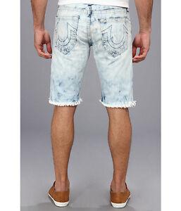 228 Nuevo True Religion Jeans Geno Para Hombre Corte Ajustado Recto Pantalones Cortos De Mezclilla 33 34 Ebay