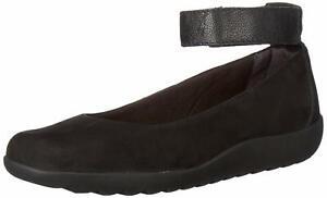 Clarks Womens Medora Nina Closed Toe Ankle Strap Slide, Black Nubuck, Size 8.0