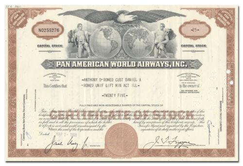 Inc Stock Certificate Pan American World Airways