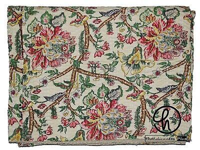 Cotton Kantha Quilt Handmade Flower Design Print Bedding Gudari Blue Color Ralli