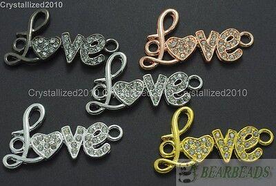 10Pcs Side Ways Crystal Rhinestones Lovely Love Bracelet Connector Charm Beads
