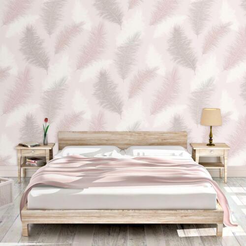 Sussurro Grande Plume Papier Peint Rose Blush ARGENT PAILLETTES Gaufrée Arthouse