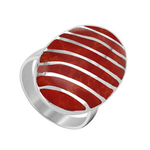 925-Sterling-Silver-Coral-Oval-with-Stripes-Design-Ring-Size-5-10