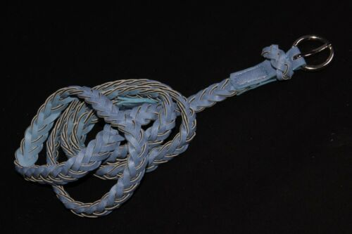 Stylish Girly Sky Blue Weaved Skinny Belt w Small Buckle S394
