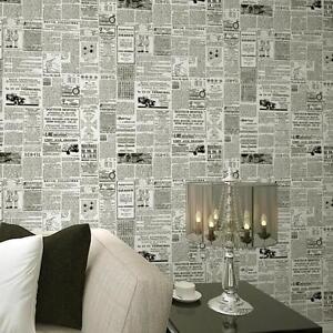 Vintage French Letter Newspaper Wallpaper For Living Room Covering